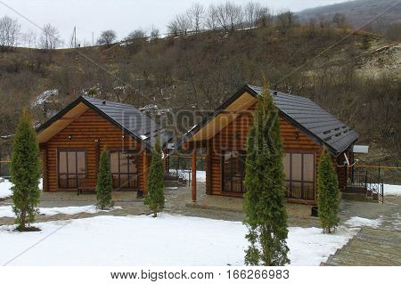 tourism, travel & leisure: guest house in the mountains, in beautiful, wooden cottages