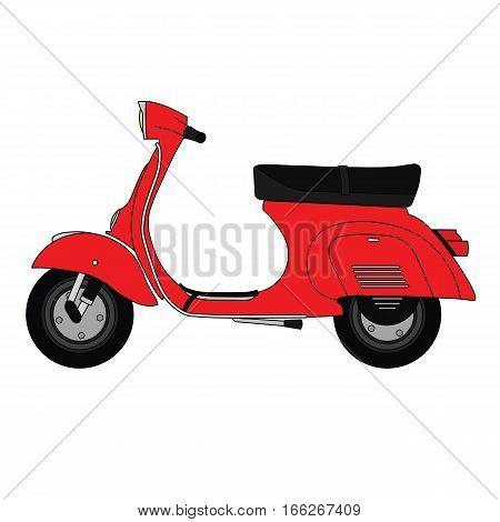 Flat old vintage retro moped scooter red.