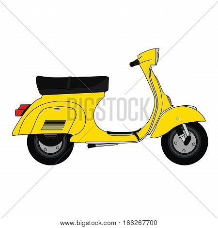 Flat old vintage retro moped scooter yellow.