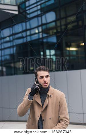 Beautiful Young Man Talking On Phone