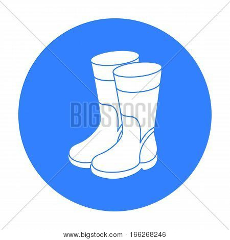 Rubber boots icon in blue design isolated on white background. Fishing symbol stock vector illustration.