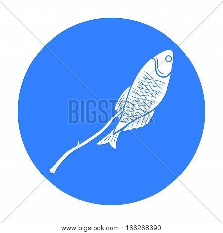 Fried fish icon in blue design isolated on white background. Fishing symbol stock vector illustration.