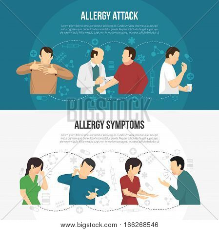 Two horizontal colored allergy banner set with allergy attack and allergy symptoms descriptions vector illustration