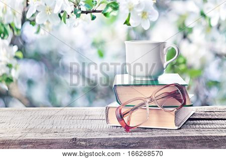 Pile Of Books, Glasses And Cup Outdoors Spring Or Summertime