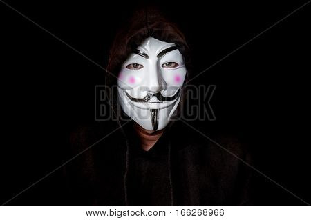 Portrait Of Man With Vendetta Mask Isolated On Black
