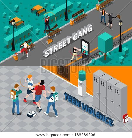 Hooliganism isometric horizontal banners with street gang attacking people destroying property and teen violence isolated vector illustration