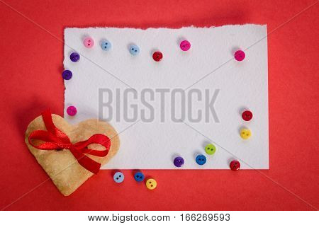 Cookies-heart, Empty Card And  Colorfull Buttons On Red Background