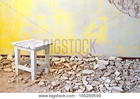 Old Vintage Wooden Chair In An Abandoned Grunge Room