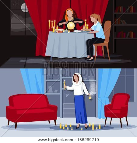 Two colored hypnotism extrasensory clairvoyance spiritual mystical people composition set with women use gift vector illustration