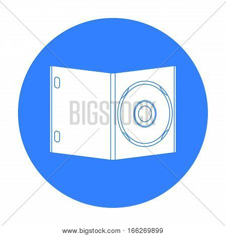 DVD with movie icon in blue style isolated on white background. Films and cinema symbol vector illustration.