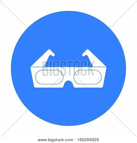 Anaglyph 3D glasses icon in blue style isolated on white background. Films and cinema symbol vector illustration.