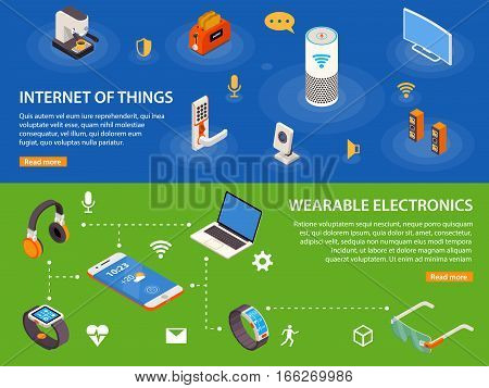 Wearable electronic devices and internet of things  iot 2 isometric infographic banners webpage design isolated vector illustration