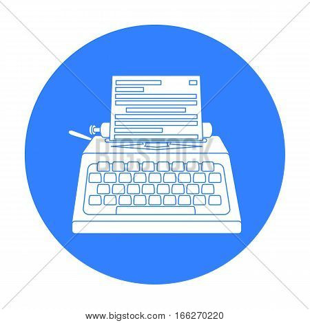Typewriter icon in blue style isolated on white background. Films and cinema symbol vector illustration.