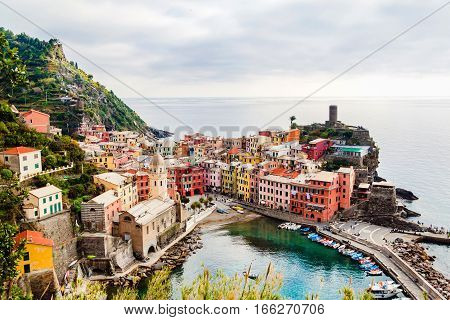Panoramic View Of Vernazza In Cinque Terre, Liguria, Italy.