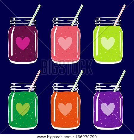 Set of 6 fruit and berry smoothies in mason jars with striped straws and heart shapes. Romantic smoothie collection. Valentine's day fresh natural drink, isolated.Vector hand drawn illustration eps10.