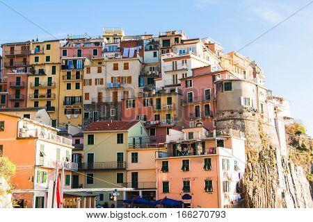 Colorful Manarola Houses In Cinque Terre, Italy.