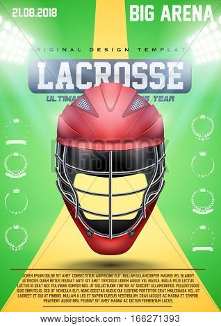 Poster Template of Lacrosse, with Red Helmet. Cup and Tournament Advertising. Sport Event Announcement. Vector Illustration. poster