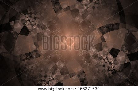 checkered abstract image of spiral of irregular shapes with beige glow in the center of the composition in the form of a square
