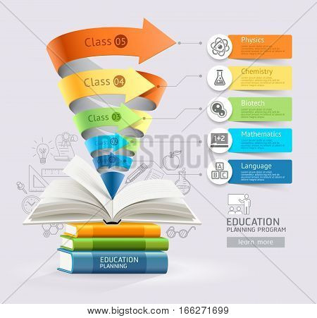 Book step education cone infographics. Vector illustration. Can be used for workflow layout banner diagram number options step up options web design timeline template.