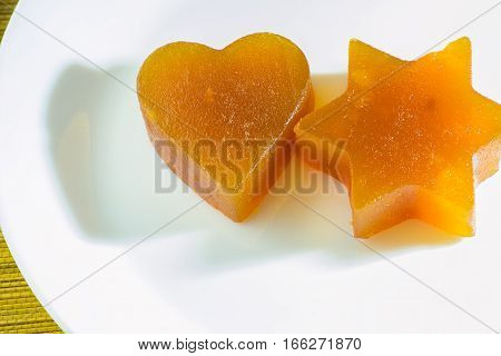 Apricot Marmalade in the form of hearts and stars of David