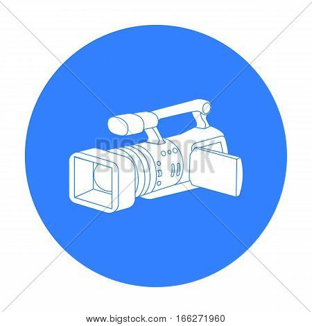Camcorder icon in blue style isolated on white background. Event service symbol vector illustration.