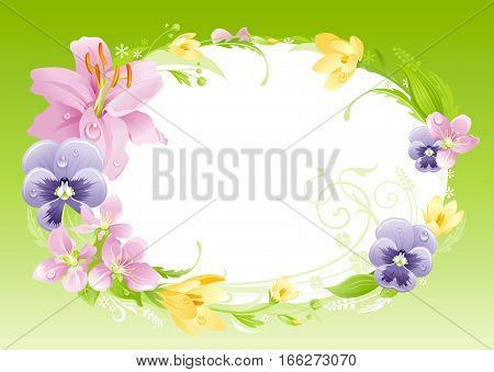 Spring green background. Easter, Mothers day, Birthday, Wedding. Flower frame lily, pansy, crocus, leaf. Isolated wreath. Natural border pattern, flat vector illustration. springtime greeting card