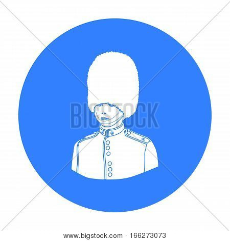 Queen's guard icon in blue style isolated on white background. England country symbol vector illustration.