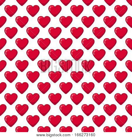 Red glossy sweetie hearts seamless pattern. Candy heart decoration background. Vector illustration