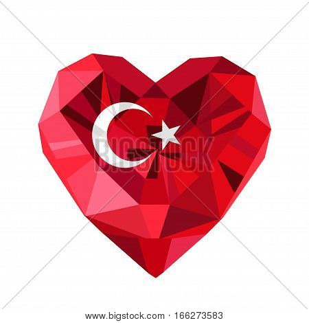 Vector  jewelry Turkish heart with the flag of the Republic of Turkey. Flat style logo of love Turkey.19 May the Commemoration of Ataturk, Flag of Turkey.Turkey symbol.Victory Republic Day 29 October.