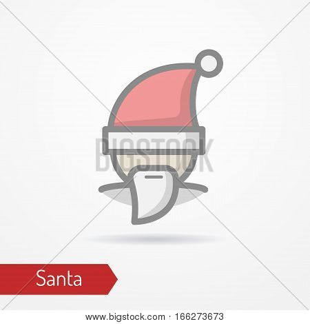 Santa Claus with beard or abstract person celebrating new year in festive hat. Man head isolated icon in flat line style with shadow. Celebration vector stock image.