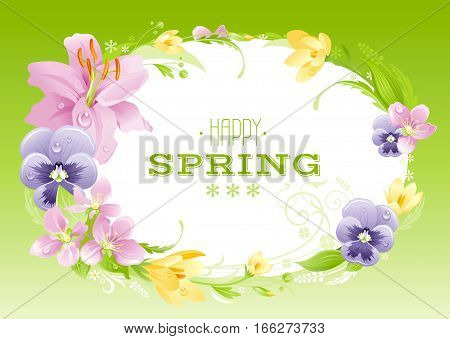 Spring green background. Easter, Mothers day, Birthday, Wedding. Flower frame lily, pansy, crocus, leaf. Isolated wreath. Nature border, flat vector illustration. springtime greeting card text letter