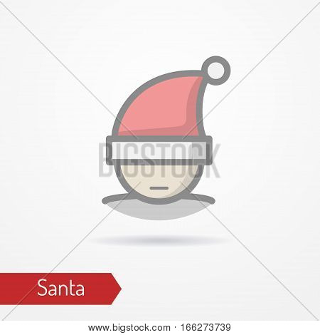 Abstract person celebrating new year in festive hat. Man head isolated icon in flat line style with shadow. Santa Claus without beard. Celebration vector stock image.