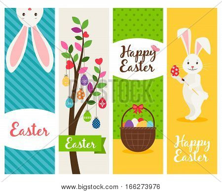 Happy easter banners. Ostern sunday spring celebration banner set with eggs and flowers. Vector illustration