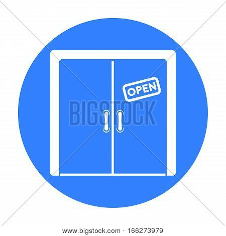 Open store icon in blue style isolated on white background. E-commerce symbol stock vector illustration.