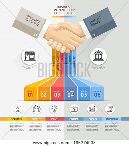 Business partnership connection concept. Business handshake and Infographics template. Vector illustration. Can be used for workflow layout banner diagram web design template.
