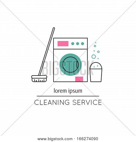 Vector thin line icon, washer, mop and bucket. Metaphor of cleaning and housekeeping. Logo template illustration for cleaning service. Colored isolated symbol. Simple mono linear modern design.