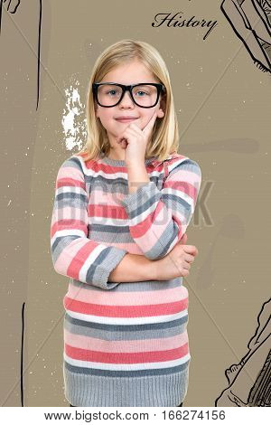Adorable child in glasses thinking, got idea