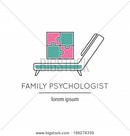 Vector thin line icon, a couch and a puzzle picture. Metaphor of family psychologist or mental treatment. Colored isolated symbol. Simple mono linear modern design.