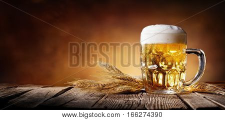 Beer With Wheat On Wooden Table, Background