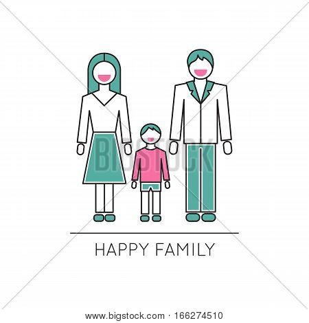 Vector thin line icon, happy family, husband, wife and child. Metaphor of happiness and humor in family relations. Colored isolated symbol. Simple mono linear modern design.