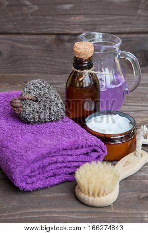 Set for a spa in violet tones