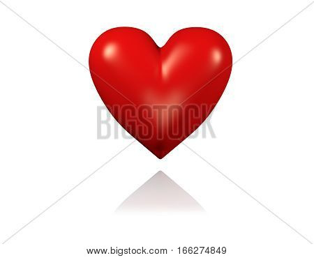 3D illustration of One Big and Red Heart with White Background