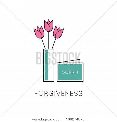 Vector thin line icon, vase with flowers and card with word sorry. Metaphor of forgiveness or mutual understanding. Colored isolated symbol. Simple mono linear modern design.