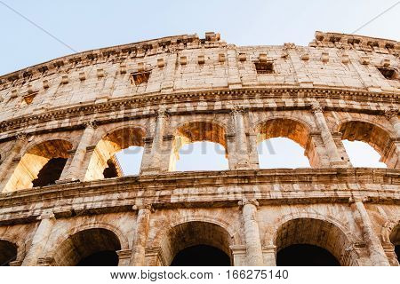 Colosseum. Ancient amphitheater landmark in Rome. Italy