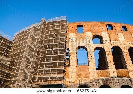 Restoration of the Colosseum. Ancient amphitheater landmark in Rome
