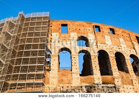 Restoration of the Colosseum in Rome, Italy