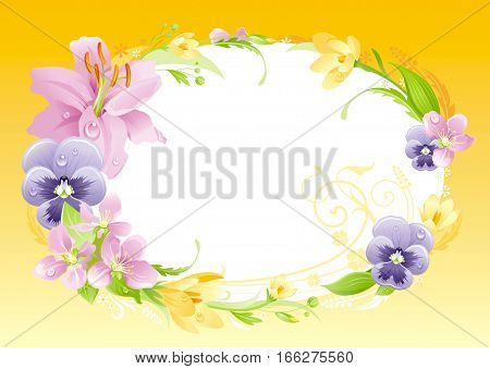 Spring yellow background. Easter, Mothers day, Birthday, Wedding. Flower frame lily, pansy, crocus, leaf. Isolated floral wreath. Natural border pattern, vector illustration. springtime greeting card