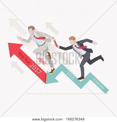 Business growth concepts. Two businessman passing the baton running relay race on arrow. Vector illustration.