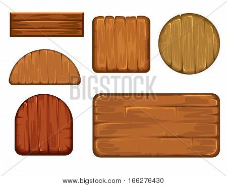 Wooden retro labels vector set. Different shapes of wood sign board. Plank frame and timbered board vector illustration