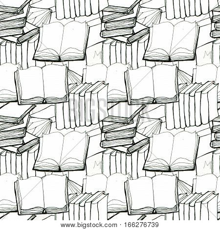 Seamless doodle pattern with books. Library hand drawn sketchy background. Reading and education concept. Paper texture.